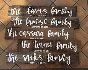 Family Established Hand Painted Sign