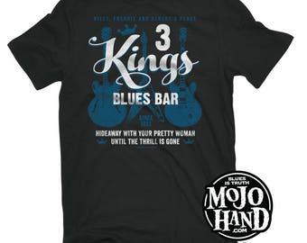 3 Kings Blues bar T-Shirt - MEDIUM from mojohand.com - BB King, Freddie King, Albert King style shirt