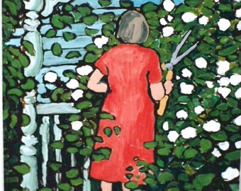 Art Print 8x10 of Original Acrylic Painting - Nature, Gardening, Woman, Flowers, Front Porch, Wall Art, Room Decor, Springtime