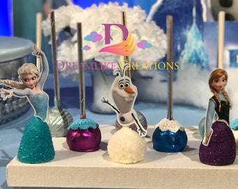 Cake Pops: 12 Frozen Inspired Cake Pops  | Elsa, Olaf, Anna Inspired Cake Pops - Perfect for Birthday Party Favors