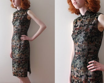 vintage 1950s Cheongsam dress // 50s brocade wiggle dress