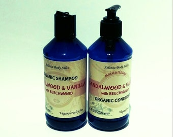 Sandalwood & Vanilla set organic shampoo organic conditioner vegan shampoo vegan hair conditioner