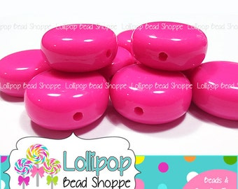22mm HOT PINK Disc Beads Solid Chunky Acrylic Coin Beads Plastic Tab Beads 6-ct Flat Round Beads Chunky Necklace Beads Bubblegum Beads