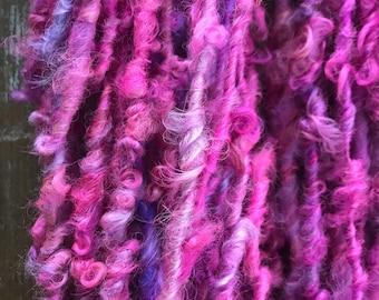 Pixie - 20 yards handspun yarn, pink art yarn, lockspun yarn, curly handspun yarn,