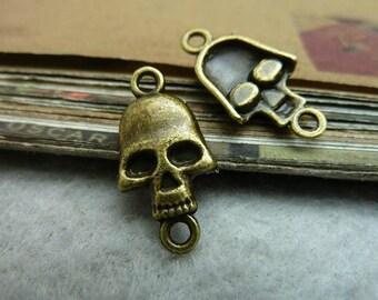 25 pcs 11x21mm  Antique Bronze Skull Charm Pendant Connector