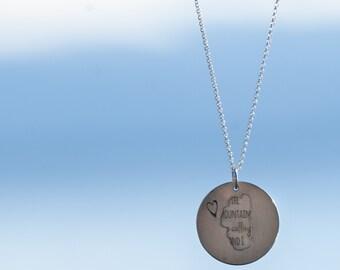 Lake Tahoe necklace, mountains calling pendant, lake tahoe pendant, tahoe necklace, mountains calling necklace, 2 part necklace,