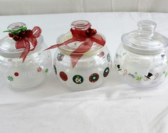 lot of 3 air tight christmas candy containers