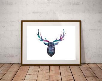 Digital Print of Original Painting Deer Watercolor Painting Stag Home Decor Watercolor Stag Wall Art Printable Art Instant Download