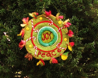 Needle Felted Extra Large Sculpted Christmas Coaster/Doily or Hanging Decoration