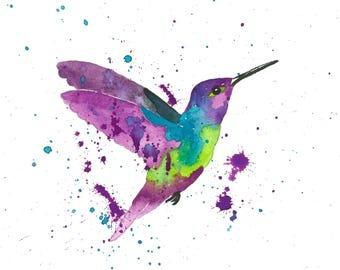 Hummingbird watercolor print