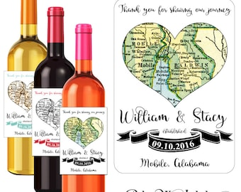 Wedding Map Wine Labels Personalized Labels Custom Wedding Stickers  Vintage Map Labels Detroit Michigan State City Towns Labels