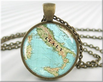 Italy Map Pendant, Resin Charm, Italy Old Map Necklace, Map Of Italy, Round Bronze, Gift Under 20, Teacher Gift 363RB