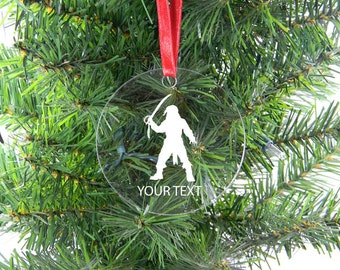 Personalized Custom Pirate Clear Acrylic Christmas Tree Ornament with Ribbon