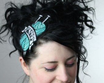 KNIT Headband, Turquoise, Retro Tattoo Inspired- Black FRiday Cyber Monday