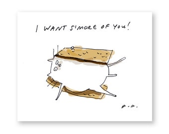 I Want S'more of You - Funny Cat Card -  Love Card - Cat Card
