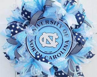 North Carolina Wreath, University of North Carolina Wreath, Tar Heels Wreath, North Carolina Tar Heels Wreath, UNC wreath