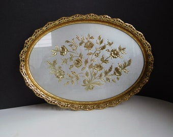 Vintage vanity tray Dresser tray with gold floral inset