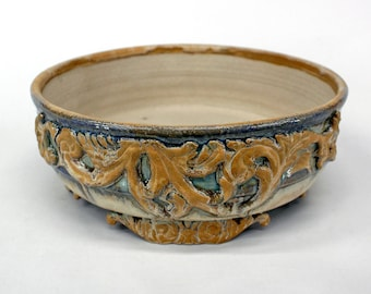 Bonsai Pot - Blue, Tan, and Cream with Scroll Feet and Accents