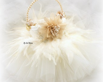 Ivory and Champagne Wedding Flower Girl Basket with Tutu, Feathers and Pearls, Vintage Gatsby Style Girl Basket, Elegant Unique Girl Basket