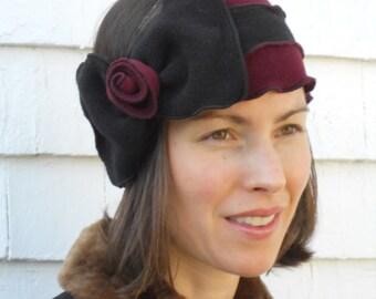 Flapper Striped Polar Fleece Headband - Bowdette- Burgundy Black