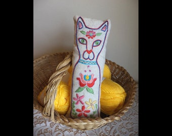 Folk Kitty Cat, Hand Embroidery, Plush, Pillow, Pin Cushion, Colorful, Flowers, Kalocsa Inspired, Ornament, Red, Pink, Yellow, Green