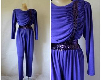1980s Disco Pantsuit / Vintage Sequin Pantsuit / Blue Bling Jumpsuit / 1980s Clubbin Jumpsuit / Glam Rock Jumpsuit / Vintage Jumpsuit S/M
