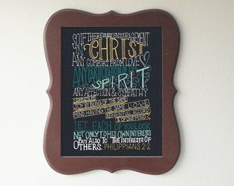 Philippians 2:2  Printable Bible Verse Art Print 8x10 Digital Wall Art Gift