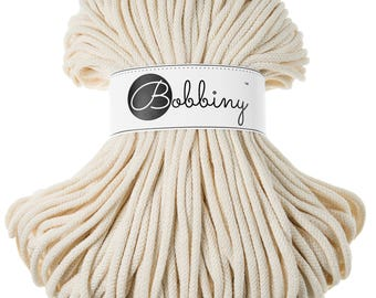 5mm Bobbiny Cotton Cord 108 yards (100 meters) - Natural; macrame cord, chunky yarn, cotton rope