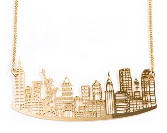 ON SALE, Gold/Silver NY Necklace, New York Jewelry, City Skyline, Statement Necklace, Architectural Jewelry