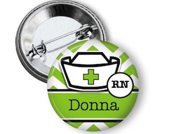 Nurse pinback button badge or fridge magnet