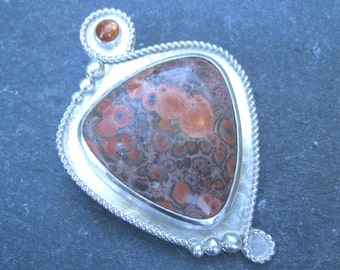 Mexican Poppy Jasper, Sunstone and Sterling Silver Pendant bold silver pendant orange taupe and purple with twisted rope and granulation