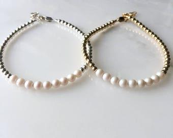 Swarovski Pearl Beaded Bracelet, Swarovski Bracelet, Swarovski Jewelry, Pearl Bracelet, Pearl Bracelet, June Birth Stone, June Jewelry