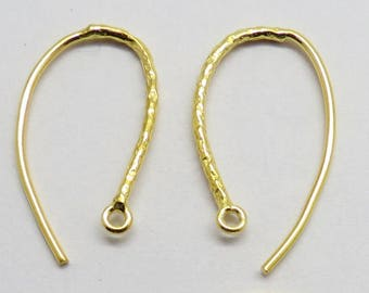 4 Pieces Ear Wire Hook Gold Plated Hammered Textured 925 Sterling Silver Earring Hooks