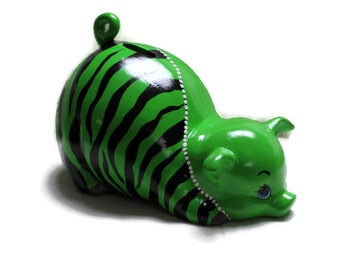 Ceramic Piggy Bank - Lime Green - Zebra Stripes - Jungle Theme - Fashionista