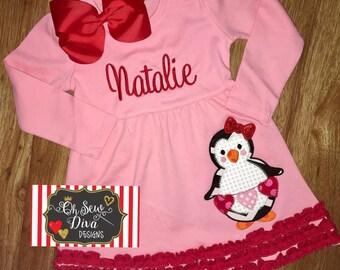 Girl's Penguin Heart Valentine Applique Dress