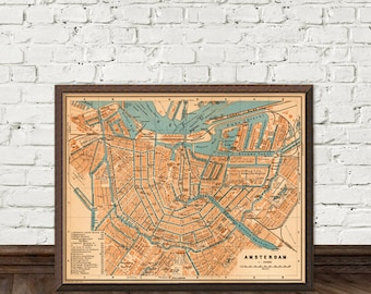 Amsterdam map - Vintage map of Amsterdam - fine  print