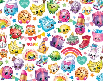 In Stock- New SPK Shopkins Fabric: SPK Shopville Shopkins Rainbow Celebration 100% cotton fabric by the yard (SC385)