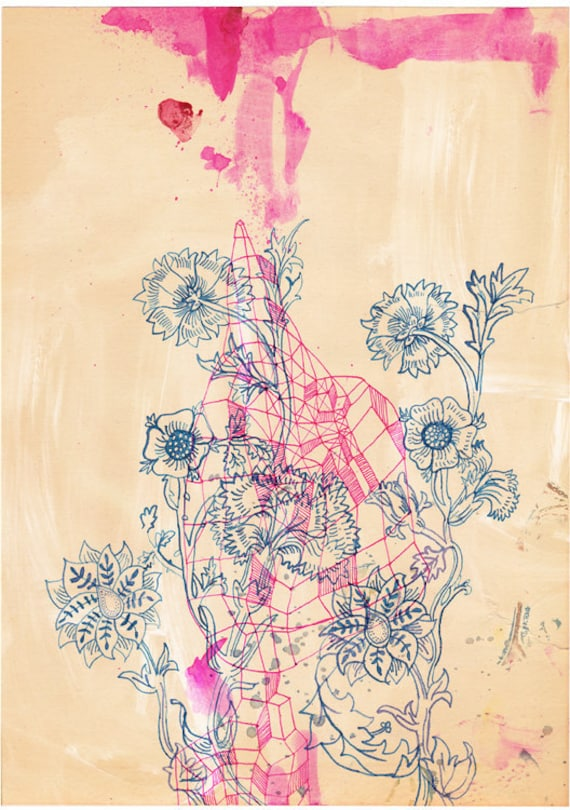 Pink Ink study - Wall Art archival print by Sweet William
