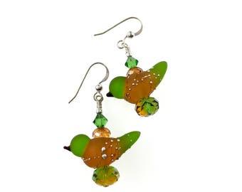 Lampwork Ohrringe, Vogel Glas Perlenohrringe, baumeln Ohrringe, Spaß, Glas Perlen Schmuck, einzigartige Tier Ohrringe, Lampwork Schmuck