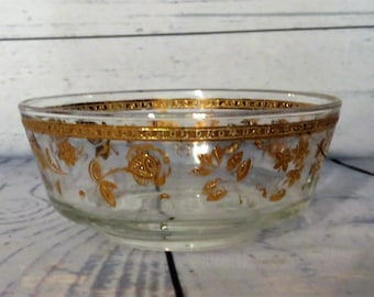 Culver Bowl, Serving Bowl, Culver Glass, Serving Bowl, Culver Glassware, Culver Valencia, 22 k gold bowl