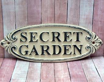 Secret Garden Gate Cast Iron Sign Ivory Off White Wall Plaque