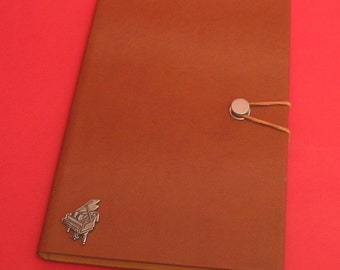 Piano Hand Cast Pewter Motif on A5 Tan Journal Piano Notebook Musical Gift