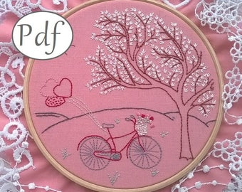 embroidery pattern pdf, instant download,  pdf pattern - embroidery kit - hand embroidery - hoop art pattern - diy hoop art - valentines day