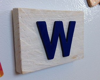 Rustic Cubs Fly the W Refrigerator Magnet