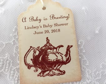 Baby Tea Party Tags Shower Favor Tags Baby is Brewing Set of 10