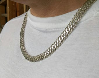 masculine jewelry, mens heavy chain necklace, masculine silver jewelry, rockers silver necklace, mens large necklace, heavy silver chain