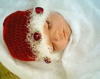 0013 Baby First Christmas,Crochet Baby Beanie,Infant Holiday Hat Pattern by CarussDesignZ