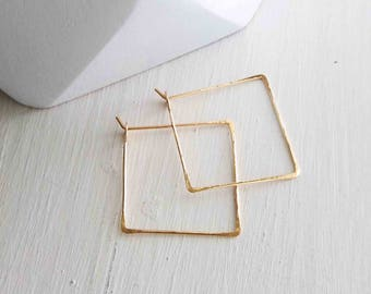 Square Hoop Earrings, Small Square Hoops, Gold Square Hoops, Rose Gold Hoops, Delicate Gold Hoops, Hammered Square Hoops, Minimalist Jewelry