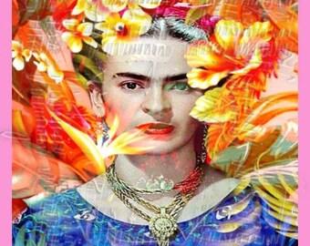 Tropical FLoral Frida Kahlo Fabric Craft Quilt Applique FK32