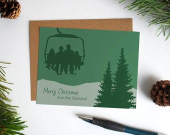 Adventure Christmas Cards, Personalized Ski Greeting Cards, Ski Stationery, Outdoor Family, Skiing Card Sets, Ski Christmas Card Sets
